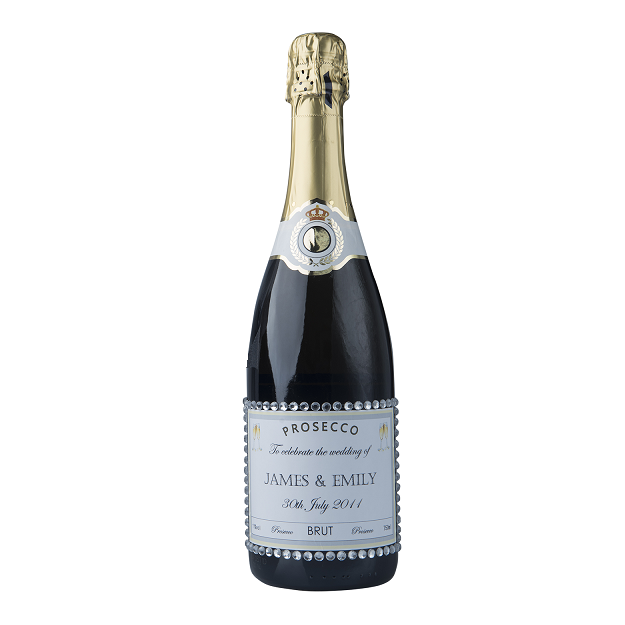 "Personalised Prosecco With Crystal Gems - ""Dash Of Glam"""