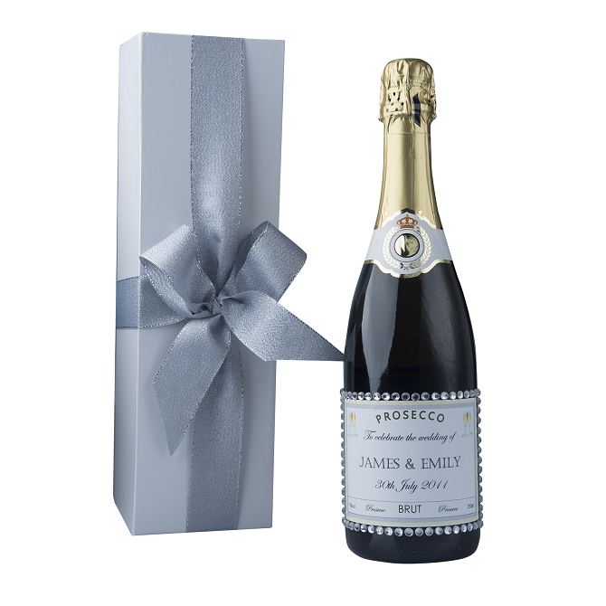 """Dash Of Glam"" Gift Set - Personalised Prosecco With Crystal Gems"