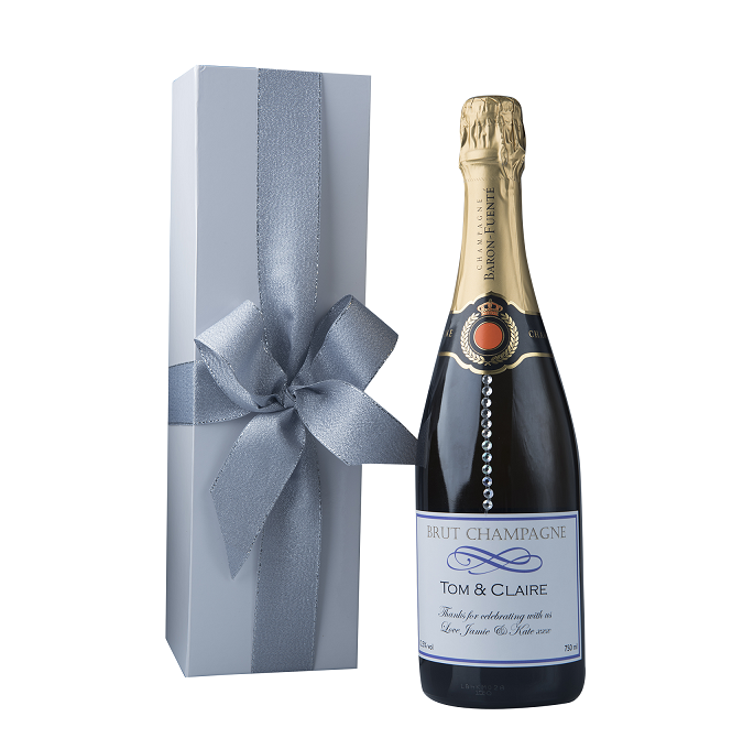 """""""Touch Of Sparkle"""" Gift Set - Personalised Champagne With Crystal Gems"""