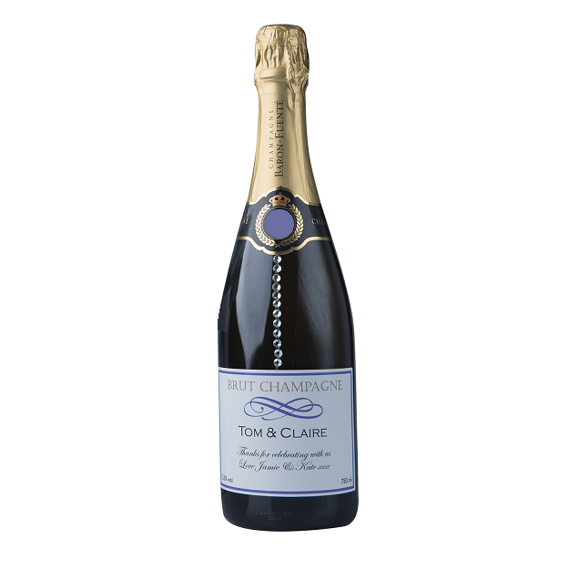 "Personalised Champagne With Crystal Gems - ""Touch Of Sparkle"""