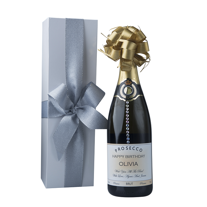"""Touch Of Sparkle"" Gift Set - Personalised Prosecco With Crystal Gems"