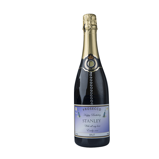 "Personalised Prosecco With Crystal Gems - ""Touch Of Sparkle"""