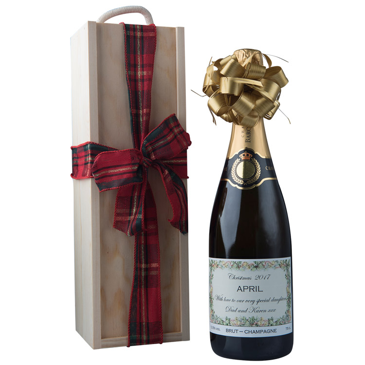 Personalised Christmas Champagne In Wooden Presentation Box