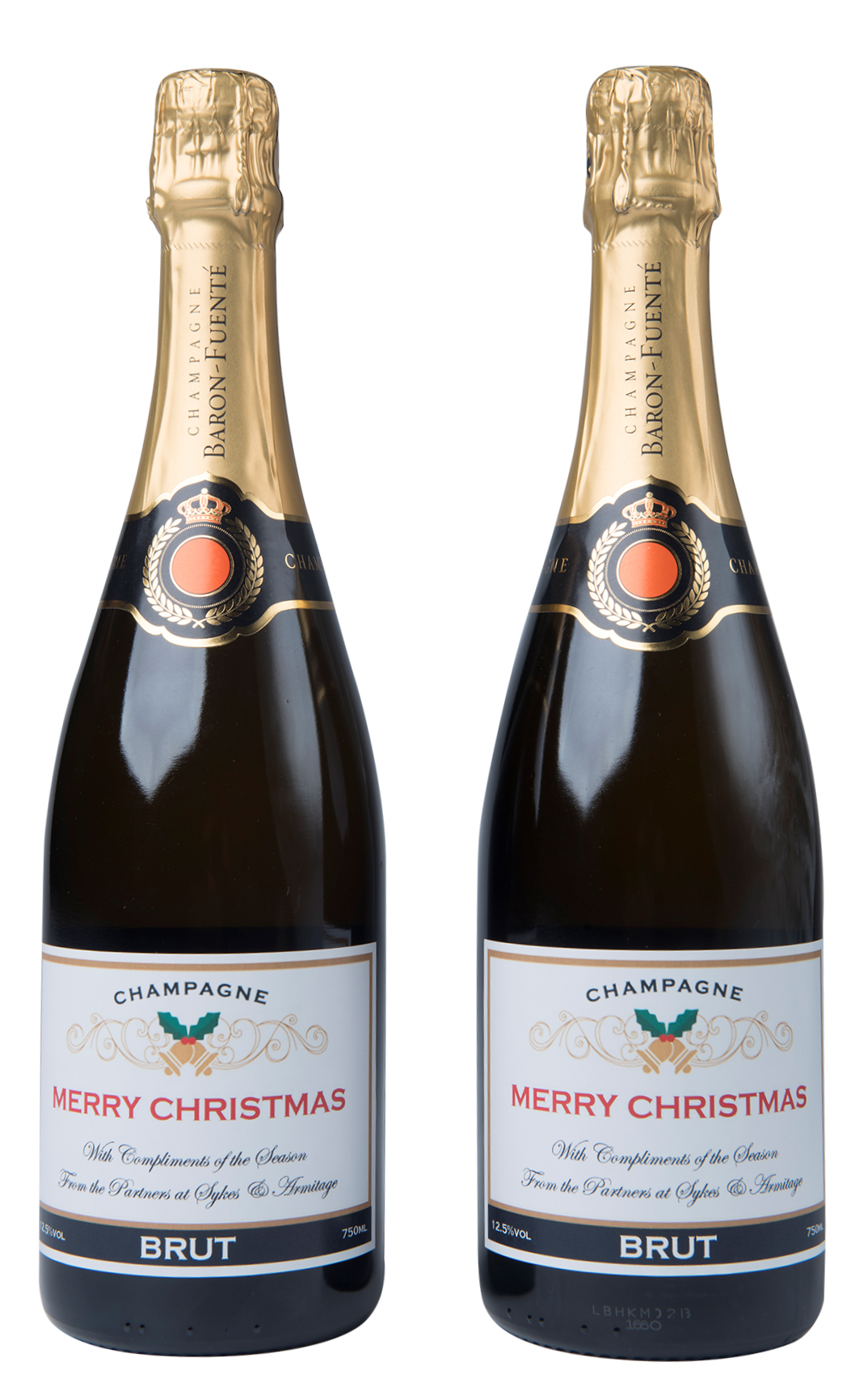 Duo Of Christmas Personalised Champagne Bottles