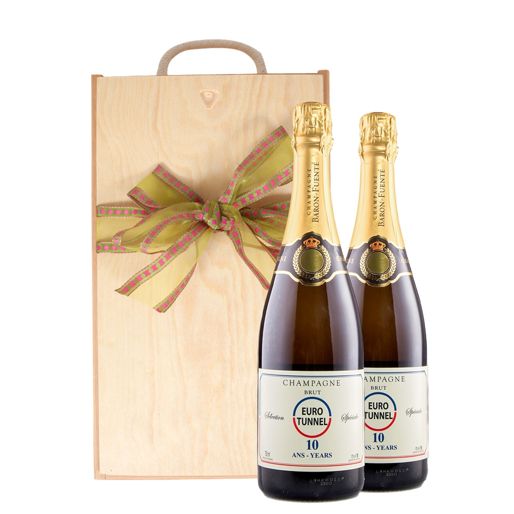 Duo Of Corporate Branded Champagne In Wooden Presentation Box