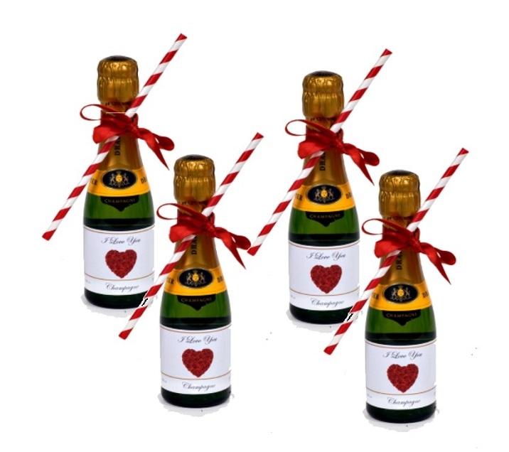 4 miniature prosecco personalisedd for valentines day