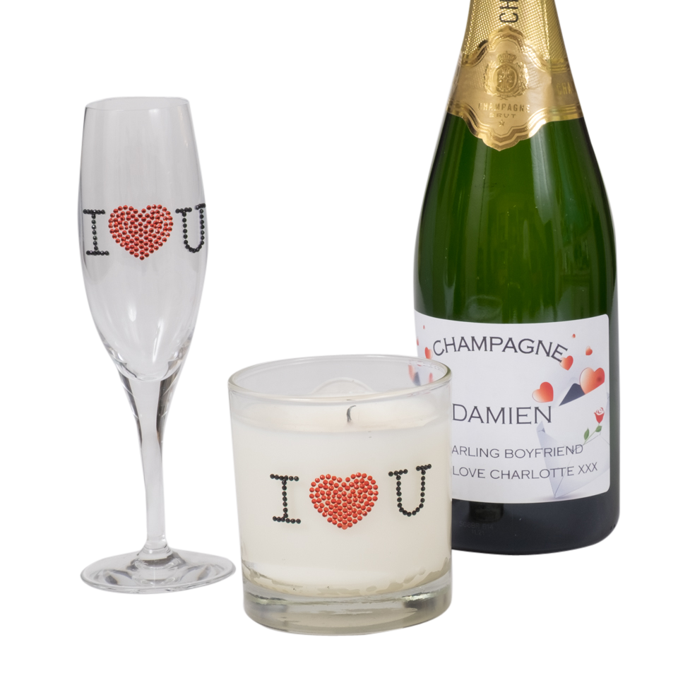 valentines day personalised prosecco gift set