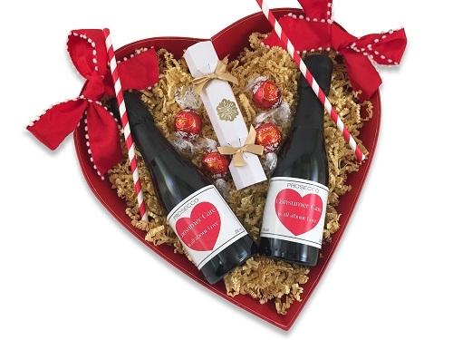 valentine heart gift personalised mini champagne and chocolates