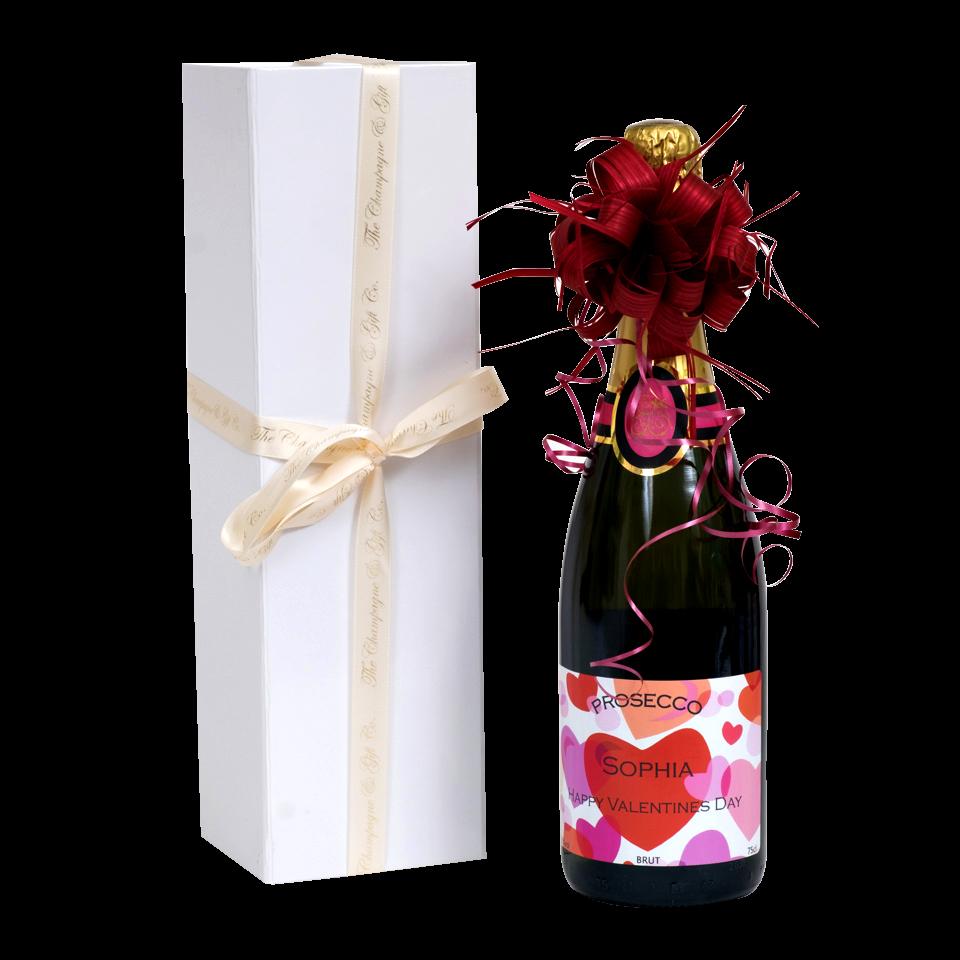 Valentines prosecco in white presentation box