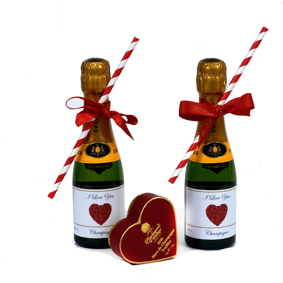 valentines day mini personalised prosecco bottles