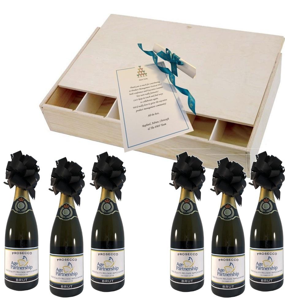 6-Branded-Prosecco-Bottles-in-wooden-presentation-box