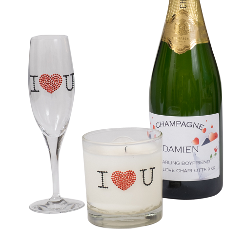 Customised-prosecco-wiht matcvhing-flute-and-scented-candle-i-love-you