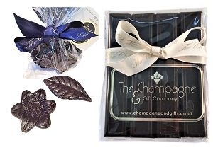 branded-chocolate-batons-with-chocolate-flowers