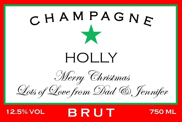Personalised-christmas-champagne-label-red-green