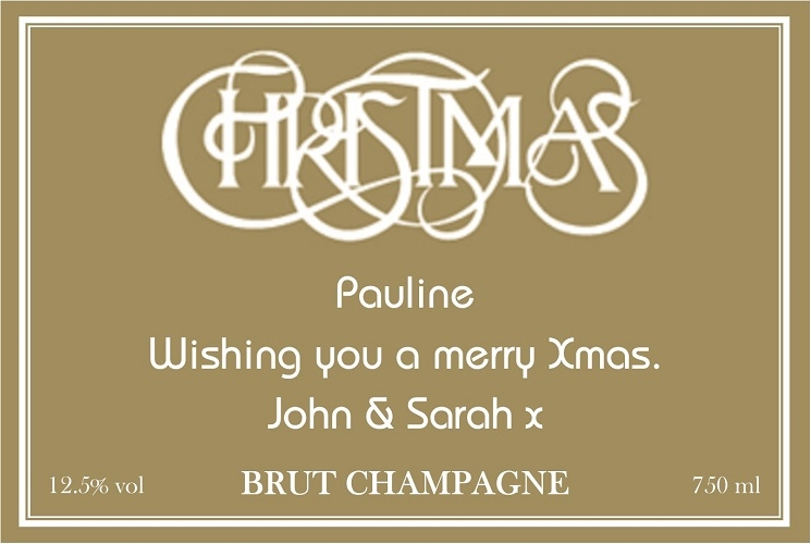Christmas-personalised-champagne-label-gold