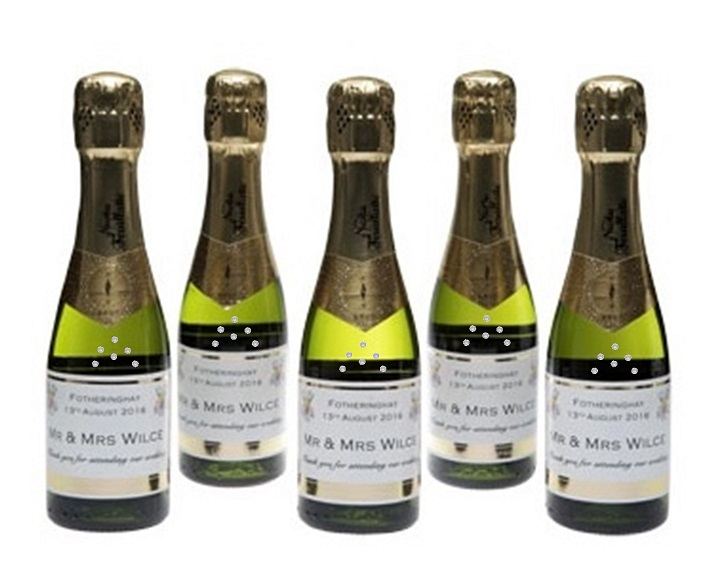 Miniature Personalised Champagne Bottles with Crystal Gems