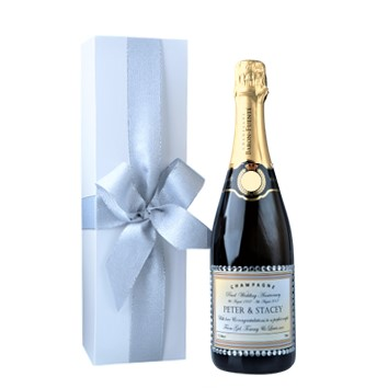 Personalised Champmagne Bottle with Crystals in White Gift Box