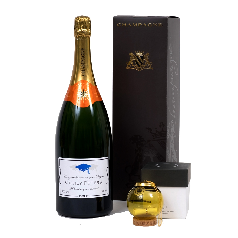 garduation personalised champagne magnum with xmas bauble