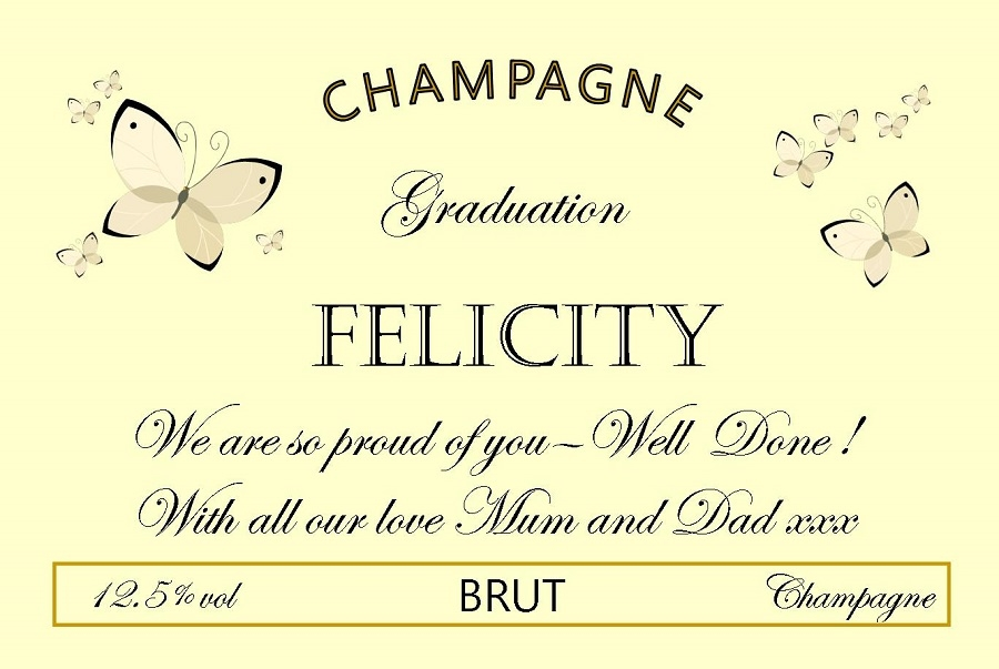graduation-personalised-champagne-label-rbutterflies