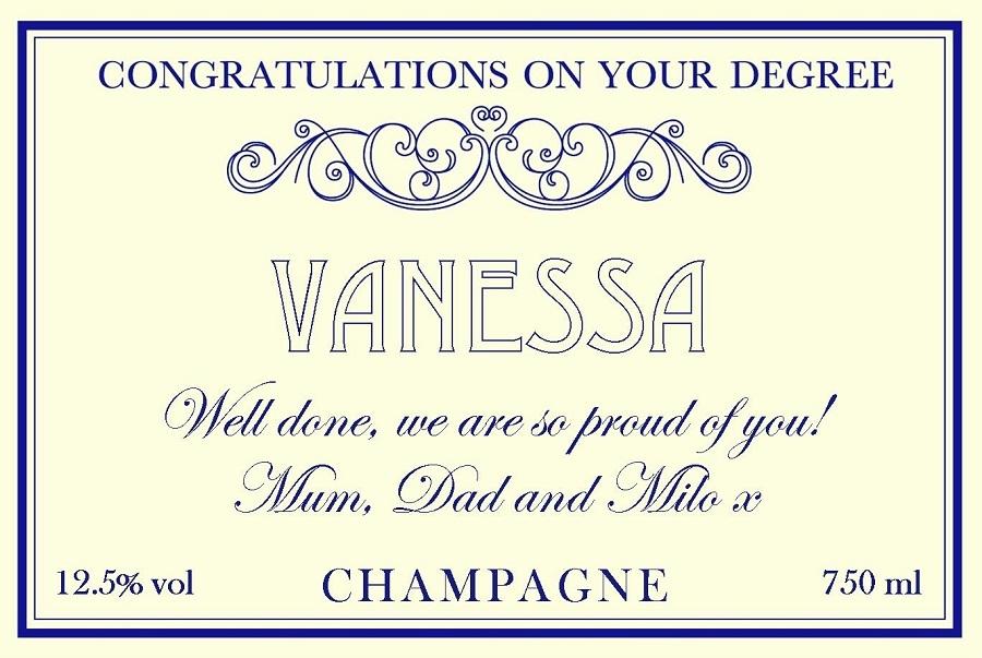 graduation personalised champagne label cream feminine