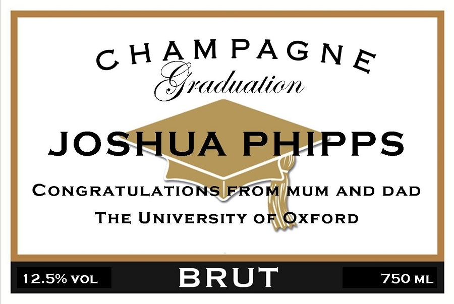 graduation personalised champagne label with hat
