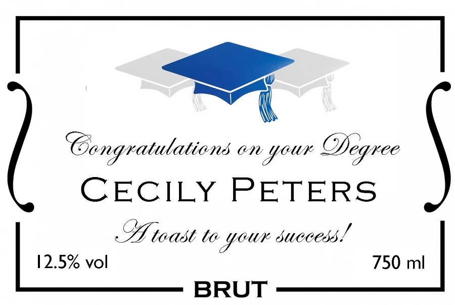 graduation personalised champagne label blue