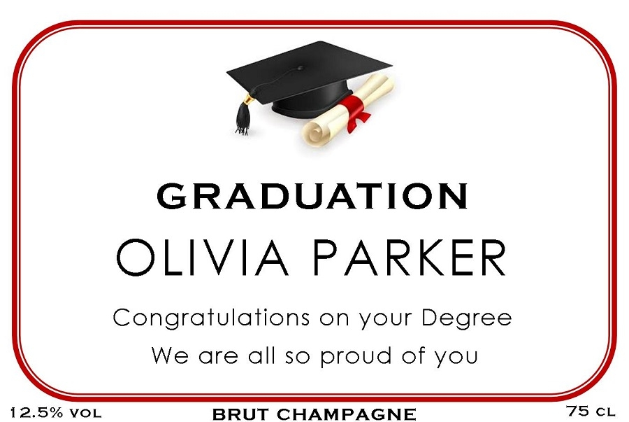 graduation personalised champagne label red border