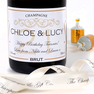 personalised birthday champagne label age 21