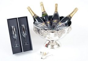 Silver-plated-Champagne-cooler-with-flutes