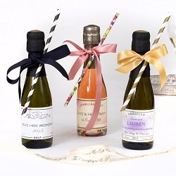 Miniature-personalised-Champagne-&-Prosecco-with-bows-&-straws
