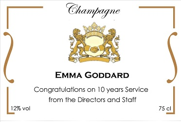 long service award corporate champagne label