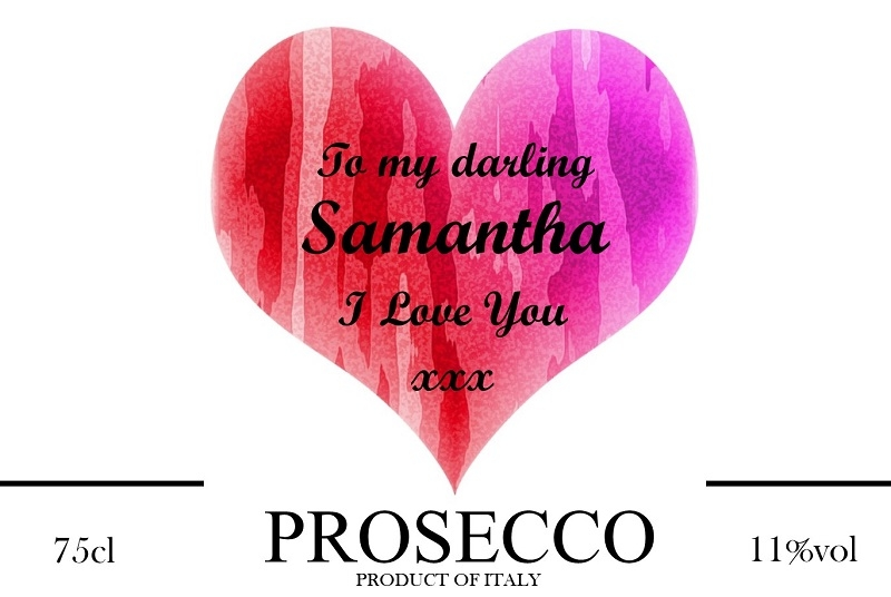 red heart personalised prosecco label valentines