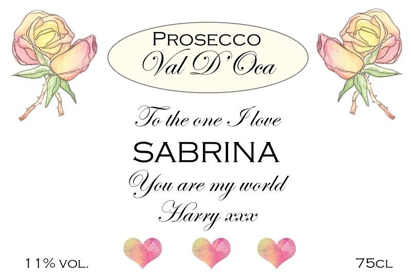 pretty personalised prosecco label valentines
