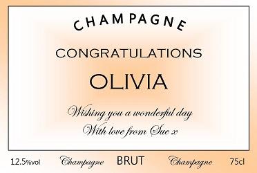 personalised congratulations champagne peach