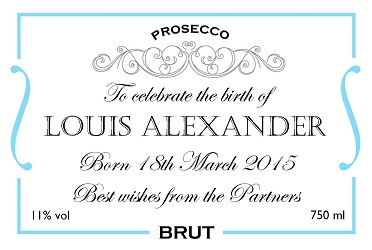 personalised prosecco label new baby