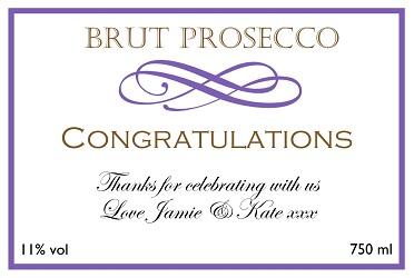 personalised prosecco label congratulations