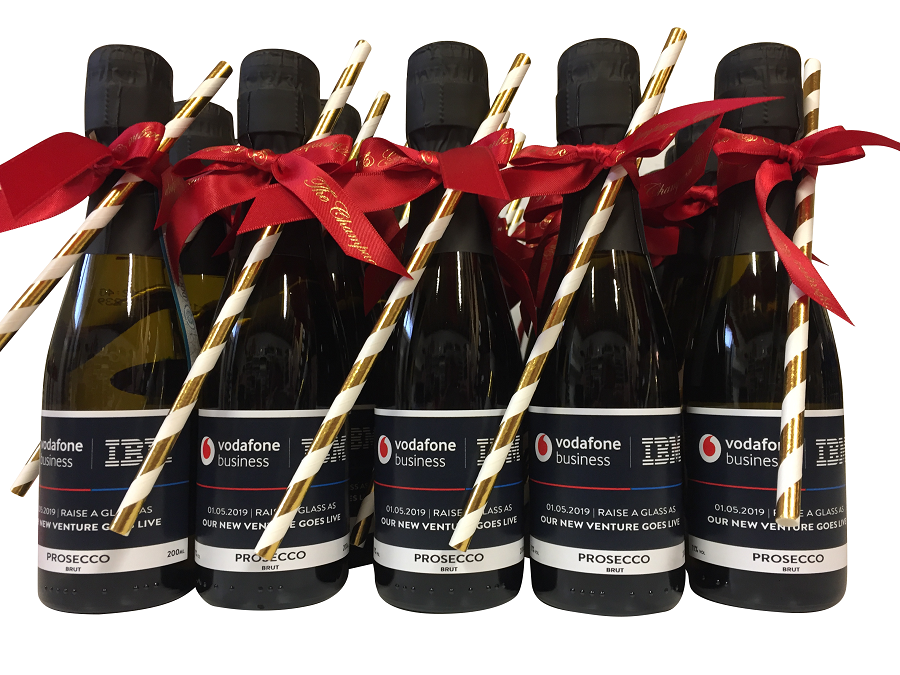 miniature-prosecco-bottles-branded-for-vodaphone-and-IBM-joint-venture