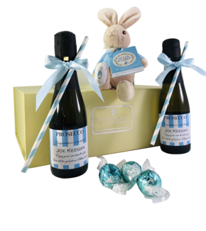 mini personalised prosecco gift new baby