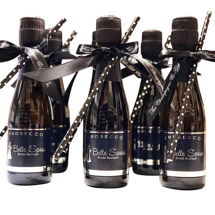 miniature-branded-prosecco-bottles