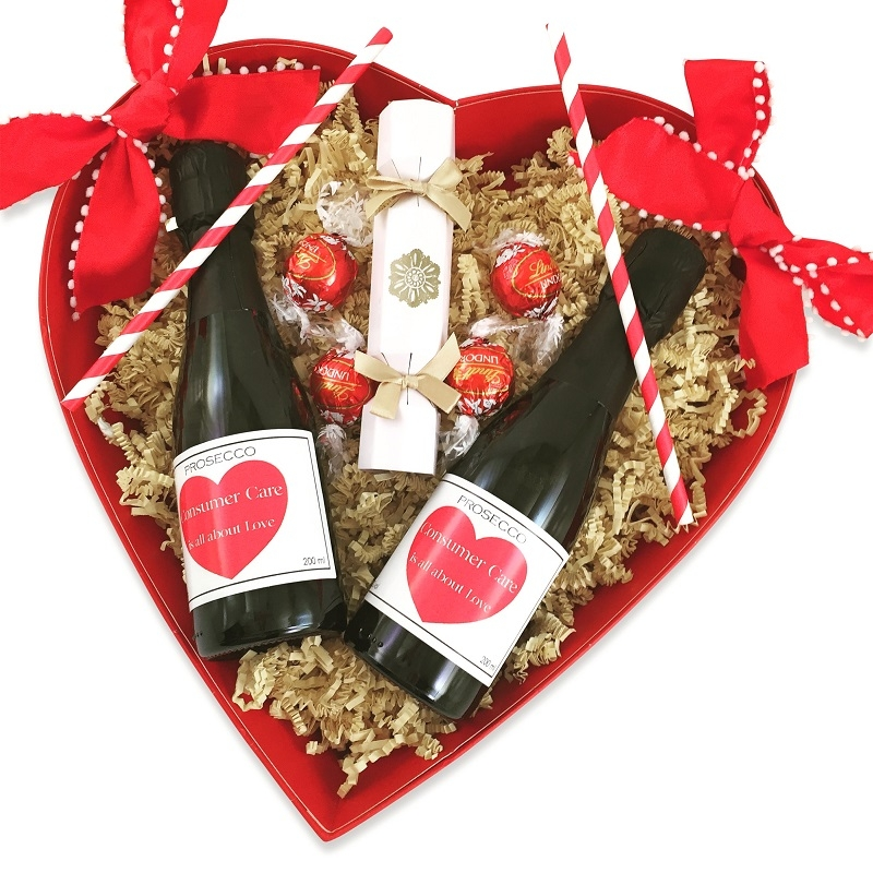 valentines-wooden heart-box-with prosecco-iand-chocoalte-truffles