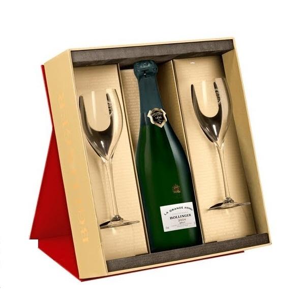 bollinger la grande-annee brut with glasses champagne gift set