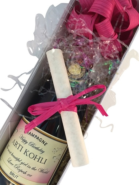 Personalised-birthday-champagne-with-message-scroll