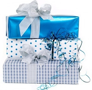 champagne gift wrapped blue