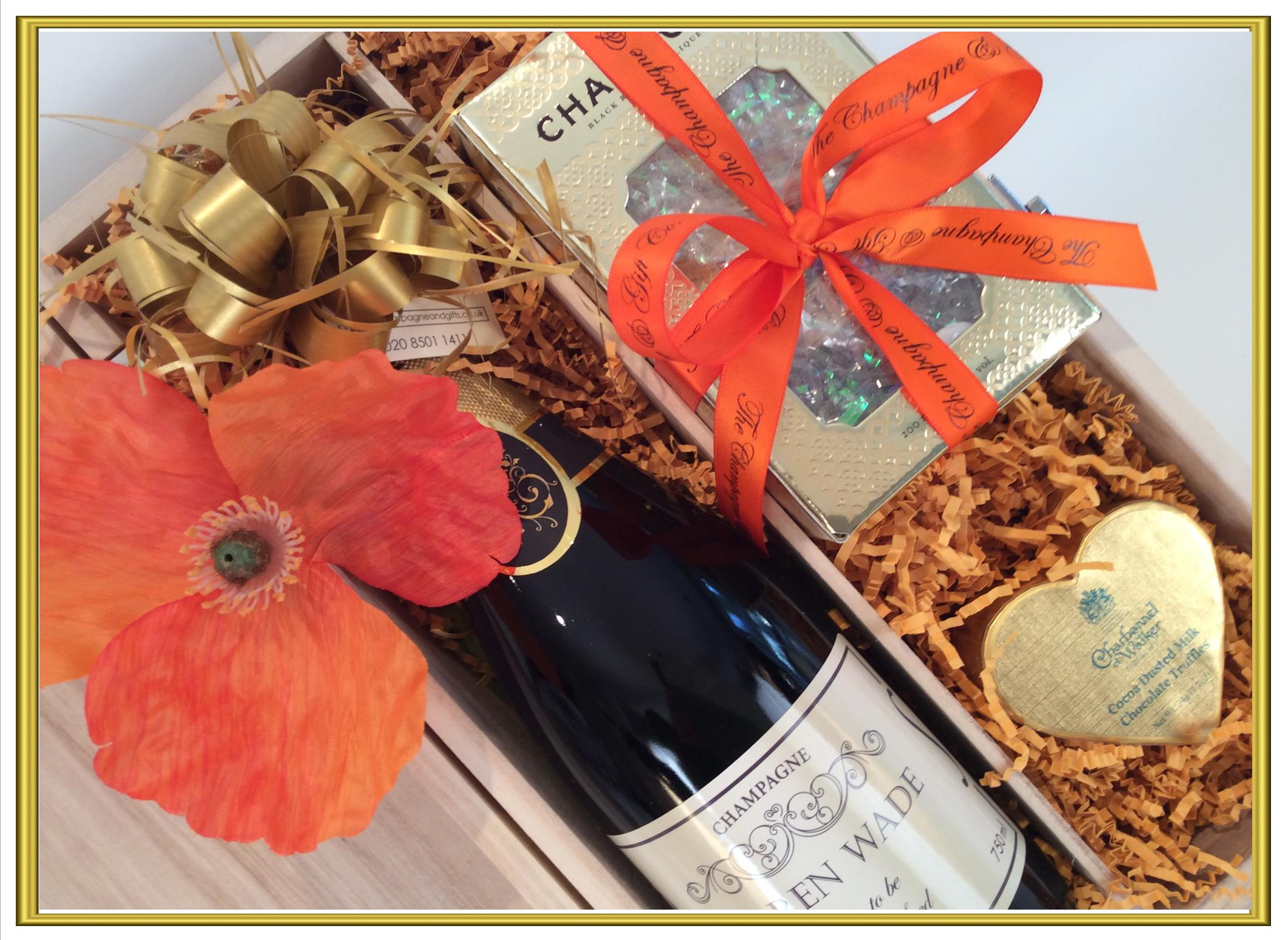 Personalised Champagne Gift with Chambord ad Chocolates