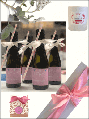 Pretty pink personalised prosecco chocoaltes and candleB