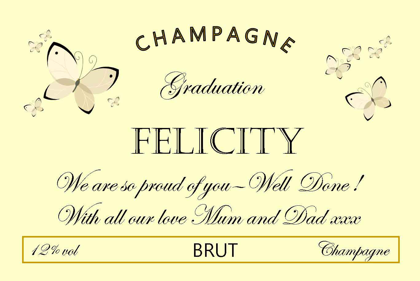 Create your own personalised graduation Champagne