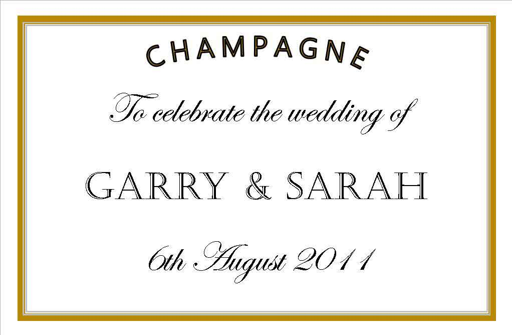 We can design a wedding Champagne label for you