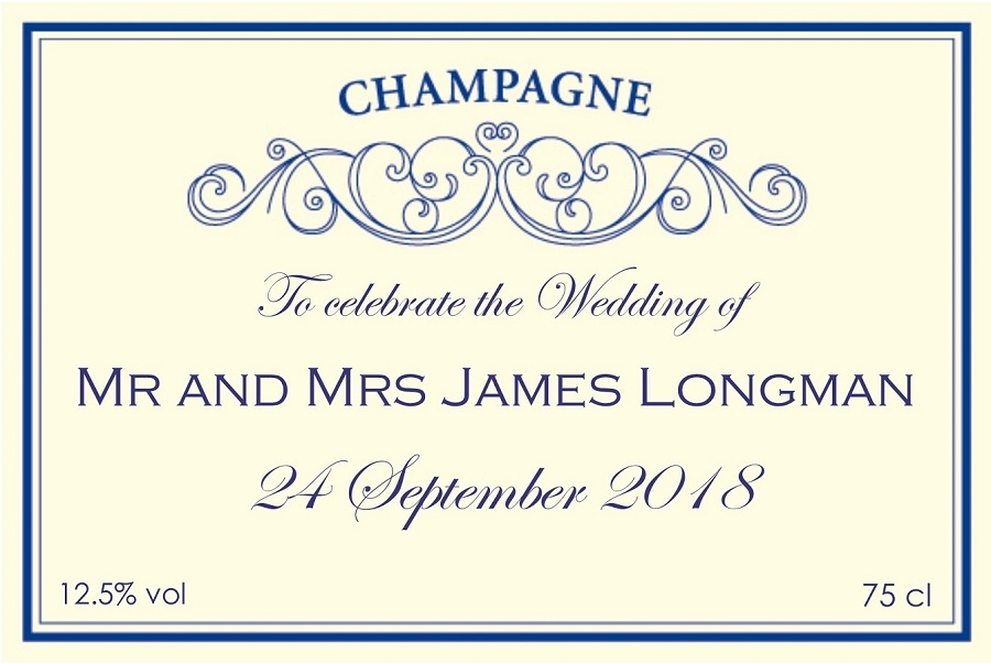 personalised-cream-and-blue-wedding-label-champagne