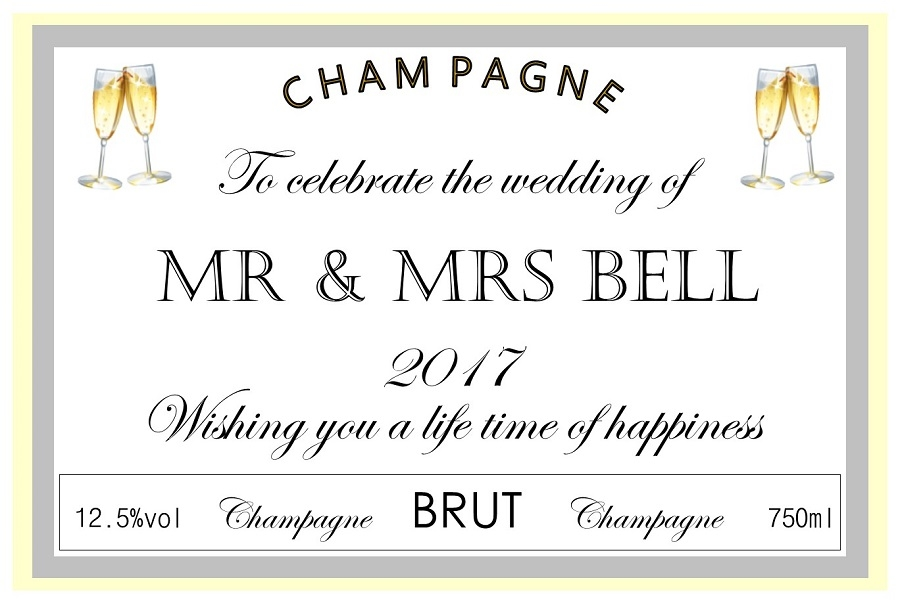 personalised-wedding-champagne-label-with-flutes